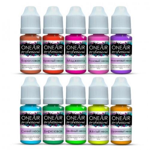"""Набор  для аэрографии на ногтях OneAir professional 10 цветов """"Неоны"""" по 10 мл."""